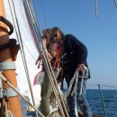 St M - possible bottom-fondling on the foredeck. photo BG