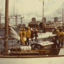 Southampton, five children on boom prior to setting off